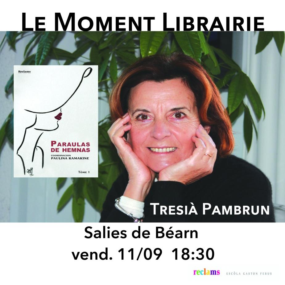 Tresià Pambrum au Moment Librairie de Salias lo 11 de seteme de 2020